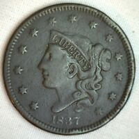 1837 Coronet Large Cent US Copper Type Coin VF Very Fine N12 Variety M3