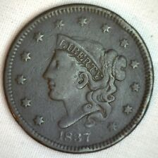 New listing 1837 Coronet Large Cent Us Copper Type Coin Vf Very Fine N12 Variety M3