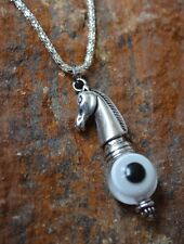 "Spirit Horse Evil Eye Protection Amulet Silver Pendant Necklace 18"""