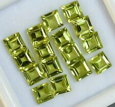 7.49 Cts Natural Peridot Square Cut 5 mm Lot 10 Pcs Parrot Green Loose Gemstones