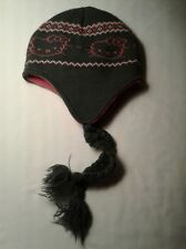 HELLO KITTY BEANIE HAT WITH BRAIDS PINK & GRAY