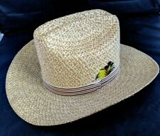 70's BRONCO BUSTER Cowboy Hat Straw Striped Band w/Feather Size 6 1/2 USA Made