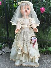"New/Old Stock Vintage 28"" Hard Plastic Doll VINYL Face BRIDE tags~stand~jewelry"