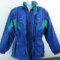 Descente Mens Ski Jacket Metallic Blue Green 90s Snowboarding Hooded Coat Sz M