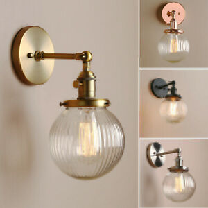 """5.9"""" Vintage Industrial Wall Lamp Sconce Stripe Glass Globe Shade Light Fixture"""