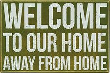 """Primitives by Kathy """" Welcome To Our Home Away From Home """" Cabin Lodge Box Sign"""