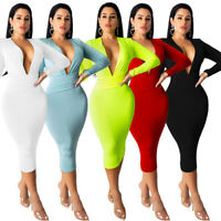 Women Solid Color Deep V Neck Long Sleeves OL Style Bodycon Party Clubwear Dress
