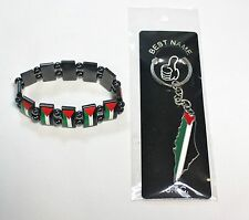 Lot of 2: Palestine Flag Map Keychain and Chrome Palestine Flags Bracelet # 19
