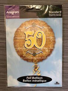 "Happy Anniversary 50 Th Mylar Helium 18"" Balloon"