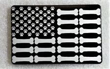"PAWS and BONES FLAG, Billet Aluminum Trailer Hitch plug Cover, 4"" X 6"""