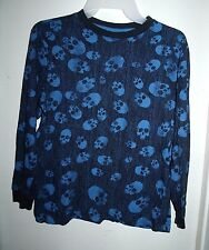 Old Navy Boys Navy Blue All-Over Skulls L/S Top Shirt Size L 10 12