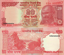 India 20 Rs New Sign Urjit Patel No Inset 2016 Bank Note Paper Money Unc New