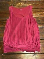 Ann Taylor LOFT Top Blouse Sleeveless Pleats Burgundy Size XS Extra Small