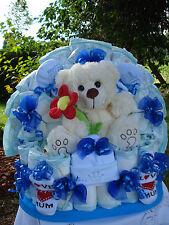"""Windeltorte""""Teddybär mit Blume und Babyset """"Geburt,Taufe,Geburtstag! blau"""