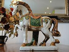 Pferdeskulptur Keramik Figur Pferd Handbemalt Hengst Statue Landhaus Edel Antik