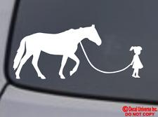 GIRL WALKING A HORSE Vinyl Decal Sticker Car Window Wall Bumper Funny Pet Farm