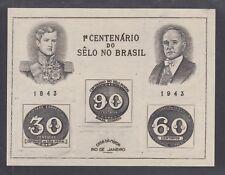 Brazil Sc 612 Mnh. 1943 Stamp Centenary Souvenir Sheet, fresh, Vf