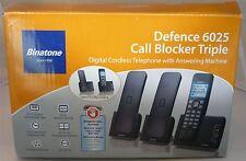 Binatone difesa 6025 TRIO CORDLESS CASA TELEFONO SEGRETERIA TELEFONICA + Call Blocker
