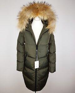 Winter Arctic Daunenmantel Damen Mantel Jacke mit Echtfell Pelz Fell Kapuze oliv