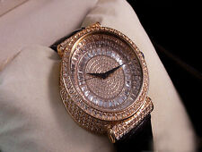 NEW 14K ROSE GOLD FINISH MENS LAB DIAMOND GENUINE LEATHER SWISS BAGUETTE WATCH
