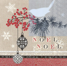 Christmas Ornaments Rustic Noel Noel Red Paper Luncheon Napkins 20 Ct