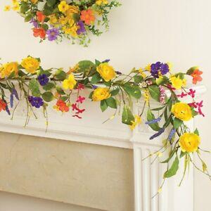 5 Foot Yellow Rose Wildflower Floral Home Mantel, Railing, Window Garland