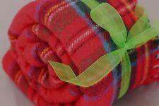 "Wool Throw Lap Blanket Red Royal Stewart Tartan Plaid Crest Cannon 47"" X 48"""