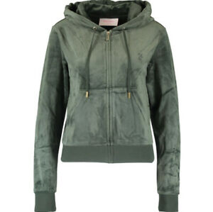 Juicy Couture Velour Logo Full Tracksuit Del Ray Bottoms + Hoodie Green Small