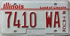 GENUINE Illinois Land of Lincoln B Truck Licence License Number Plate 7410 WA