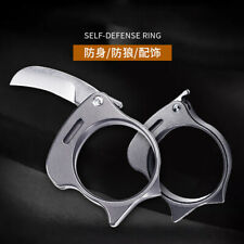 TC4 Titanium Finger Ring M390 Steel Folding Blade Knife EDC Tools Parcel Opener