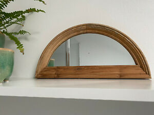 DISPLAYS AND SUPPLIES Danish Raw Beech Wood Tooled Arch Mini Mirror Industrial