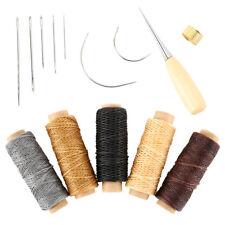 14Pcs Set Leather Craft Hand Stitching Sewing Tool Thread Awl Waxed Thimble Kit