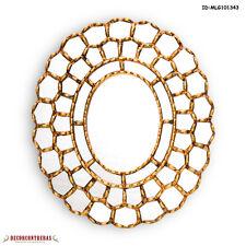 """Peruvian Wall Oval Mirror, """"Gold Treasure Cuzco""""- Handcrafted Decorative mirror"""