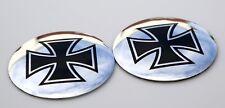 "2x 3D Metal Maltese Cross Sticker Decal Emblem 2.2"" DOME SHAPE"