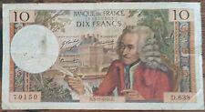 Billet 10 francs VOLTAIRE 5 - 11 - 1970 FRANCE D.639