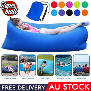 Air Bag Laybag Lazy Sofa Bed Fast Inflatable Lounge Sleeping Camping Outdoor AU