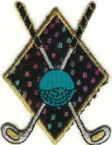 """2.7"""" Golf Crossed Clubs Badge embroidery patch"""
