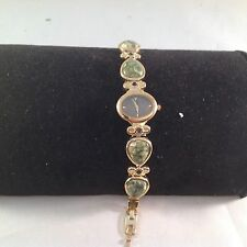 Aria Gemstone Topaz and Green Agate Goldtone Adjustable Link Watch NEW