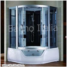 Cabina con Vasca Idromassaggio bianca o grigia per 2 persone sauna bagno turco
