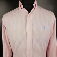 Polo Ralph Lauren Mens Vintage Shirt SMALL Long Sleeve Pink Custom Fit Striped
