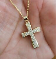 Diamond Cross Pendant Necklace with Chain 14K Yellow Gold over Women's Men's