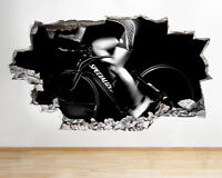C928 Spin Class Bike Gym Exercise Smashed Wall Decal 3D Art Stickers Vinyl Room