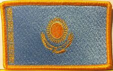 Kazakhstan Flag Patch With VELCRO® Brand Fastener Biker Military Gold Version #9