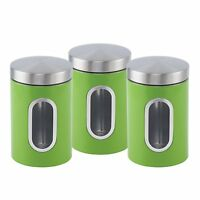 Stainless steel Canister set 3 pcs with Window in 6 colours (Green)
