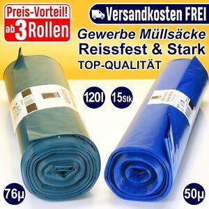 Müllsäcke blau | 120 Liter extra dick sehr stark Müllbeutel Abfallsack Müllsack