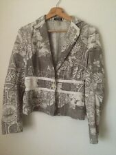 Toni Gard Jacket Taupe and Cream Printed Cotton Size 10 < T1593