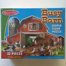 Melissa & Doug Busy Barn Shaped Floor Puzzle - Jigsaw - Horse Cow Pigs - NEW
