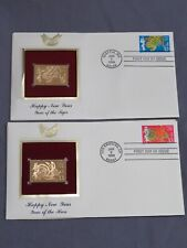 Lot of 2 Happy New Year the Hare & Tiger 22kt Gold Stamp First Day of Issue 1998