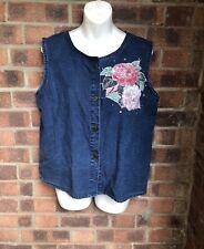 Vintage Dark Blue Denim Sleeveless Shirt Floral Appliqué- Size 14 - Studs