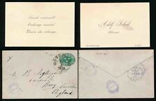 STAMP DEALER 1895 ADOLF SCHEEL HANDSTAMP + CARD + STATIONERY ENV.to NIGHTINGALE